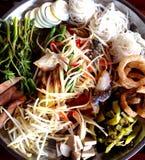 Somtam - insalata famosa tailandese della papaia Fotografia Stock
