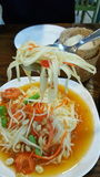 Somtam. Papaya green salad  thai style Stock Photos