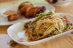 Somtam Papaya. Papaya salad is food for thai peoples stock photo