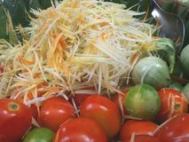 Somtam Papaya Salad. Fresh and healthy ingredient of popular Papaya Salad royalty free stock image