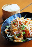 Somtam (Papaya Salad) with pork crackling. Photo of Somtam (Papaya Salad) with pork crackling stock photo