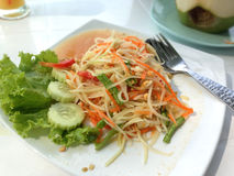 Somtam or Papaya salad. Thai food Royalty Free Stock Photography
