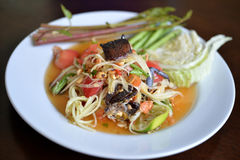Somtam. Popular Thai spicy papaya salad or Somtam with fresh vegetable Stock Photography