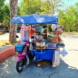 Somtam shop. Thai style. Spicy papaya salad shop on tri-motercycle. Thailand only Stock Photos