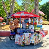 Somtam shop. Thai style. Spicy papaya salad on tri-motercycle. Thailand only Royalty Free Stock Image