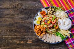 Somtam tad. Papaya salad is a popular trays. In Thailand royalty free stock photography