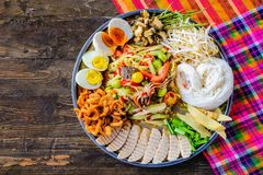 Somtam tad. Papaya salad is a popular trays. In Thailand stock image