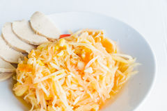 Somtam. Thai food papaya salad. Thai traditional food style papaya salad and eggs corn. SOMTAM stock image