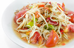 Somtam, Thai Papaya Salad. Papaya Salad is a spicy salad made from shredded unripe papaya. Locally known in Thailand as som tam which was listed at number 46 on Royalty Free Stock Images