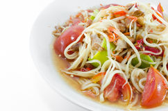 Somtam, Thai Papaya Salad. Papaya Salad is a spicy salad made from shredded unripe papaya. Locally known in Thailand as som tam which was listed at number 46 on Stock Images