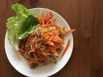 Somtam thai salad. Famous Thai spicy papaya salad Stock Images