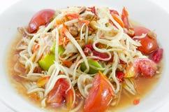 Somtam thailändsk Papayasallad Arkivfoto
