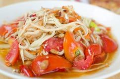 Somtam, Thaise Payaya-Salade Stock Afbeelding