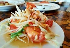 Somtum,泰国东北食物 免版税库存照片