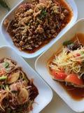 Somtum é alimento tailandês famoso, slad picante da papaia Foto de Stock
