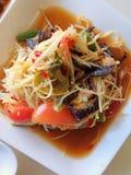 Somtum é alimento tailandês famoso, slad picante da papaia Fotos de Stock Royalty Free