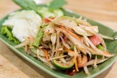 Somtum: еда очень вкусного и традиции тайская еды вегетарианца Стоковое фото RF