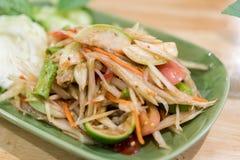Somtum: Еда очень вкусного и традиции тайской еды вегетарианская, нет Стоковая Фотография