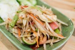Somtum: Еда очень вкусного и традиции тайской еды вегетарианская, нет Стоковое Изображение RF