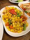 Somtum corn salad Thailand food. Somtum corn salad delicious food in Thailand Stock Images