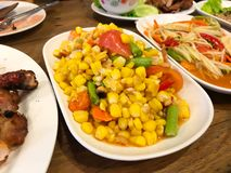 Somtum corn salad Thailand food. Somtum corn salad delicious food in thailand Stock Photos