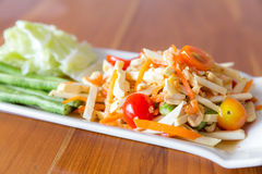 Somtum durian. And papaya spicy salad Royalty Free Stock Photo