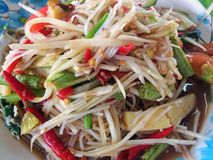 Somtum is famous Thai food. Close up Somtum is famous Thai food, spicy salad good for diet Stock Photos