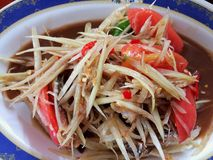 Somtum is famous Thai food. Close up Somtum is famous Thai food, a spicy food slad Stock Image