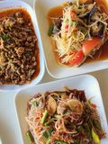 Somtum is famous Thai food, papaya spicy slad. Northeast food, Thai cuisine Royalty Free Stock Image