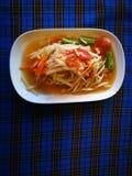 Somtum favorito di chiamata del menu della Tailandia che era insalata piccante della papaia immagine stock