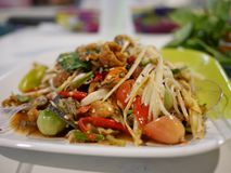 Somtum food for Thai people. Somtum, delicious food for Thai people, is a food menu of Thailand, which is popular with Thai people and foreigners royalty free stock photo