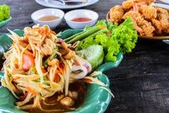 Somtum green papaya salad with seafood, samui thailand Royalty Free Stock Photos