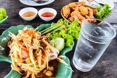 Somtum green papaya salad with seafood, samui thailand Stock Photo