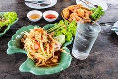 Somtum green papaya salad with seafood, samui thailand Stock Photography
