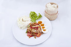 Green papaya salad, Thai spicy food Stock Photos