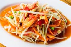 SomTum, insalata verde piccante tailandese della papaia Fotografia Stock Libera da Diritti