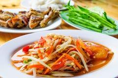 SomTum, insalata verde tailandese della papaia Fotografia Stock Libera da Diritti