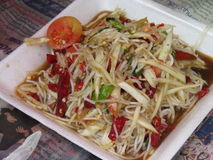 Somtum Isan. Thai food with hot spicy East people eat for a long time royalty free stock photo