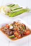 Somtum, melonowa sałatkowy wyśmienicie jedzenie w Thailand Fotografia Stock