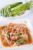 Somtum, melonowa sałatkowy wyśmienicie jedzenie w Thailand Obrazy Stock
