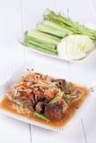 Somtum, melonowa sałatkowy wyśmienicie jedzenie w Thailand Zdjęcia Stock