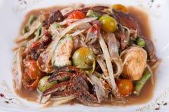 Somtum, melonowa sałatkowy wyśmienicie jedzenie w Thailand, zakończenie Zdjęcia Stock