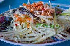 Somtum, melonowiec sałatka, Tajlandzki jedzenie Zdjęcia Stock