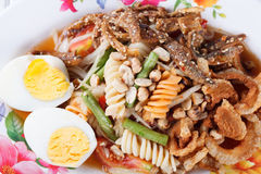 Somtum, mix papaya salad delicious food in thailand.  royalty free stock images