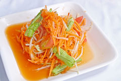 Somtum, papaya and carrot salad. Hot and spicy papaya and carrot salad, Somtum Stock Image
