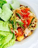 Somtum papaya pok pok. Thai style food cuisine Stock Photography