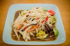 Somtum, papaya salad delicious food in thailand. Close-up royalty free stock photo