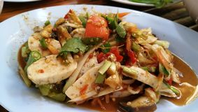 Somtum papaya salad with pork. Somtum Pah papaya salad with pork thai food, thailand cuisinenn royalty free stock image