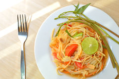 Somtum, papaya salad. Spicy Thai food Royalty Free Stock Photography