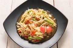 Somtum Tajlandzki jedzenie na drewnianym stole Obraz Royalty Free